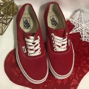 Vans red classic shoes white laces